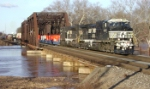 NS 20R crosses over a rain swollen Raritan River